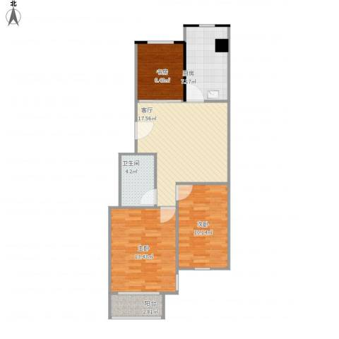 伴山蓝庭3室1厅1卫1厨84.00㎡户型图