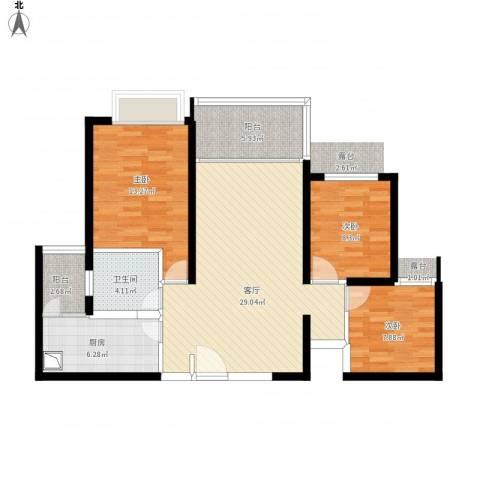 西安・恒大御景3室1厅1卫1厨111.00㎡户型图