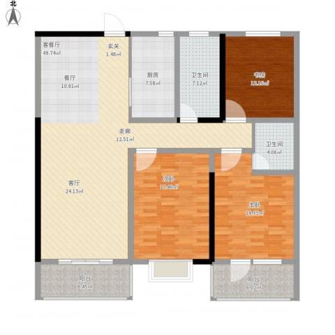 汇富广场3室1厅2卫1厨179.00㎡户型图