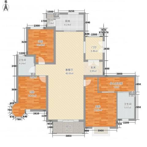 天元蓝城3室1厅2卫1厨173.00㎡户型图