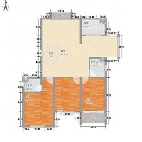 飞宇花园南区3室1厅2卫1厨137.00㎡户型图