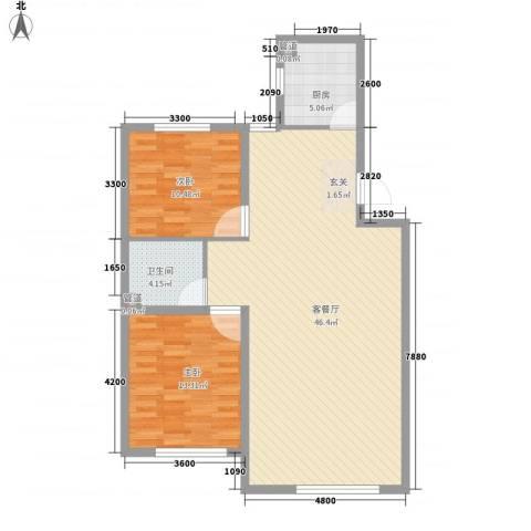 辽阳第一城2室1厅1卫1厨79.55㎡户型图