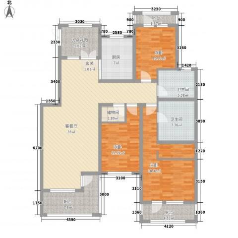 御龙仙语湾3室1厅2卫1厨140.00㎡户型图
