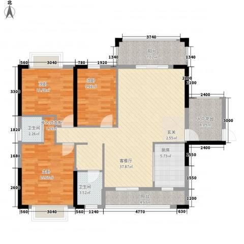 紫宸澜山3室1厅2卫1厨129.00㎡户型图