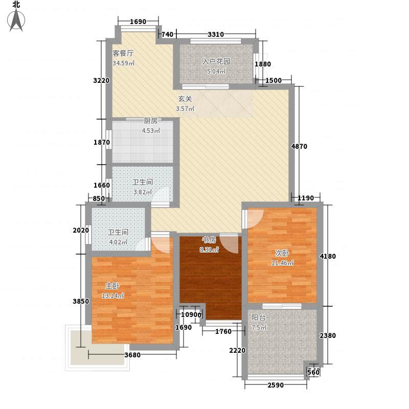 隆源国际花园133.30㎡2#一二单元户型3室2厅2卫1厨
