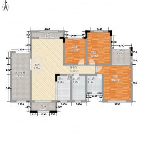 宝香居3室1厅2卫1厨111.33㎡户型图