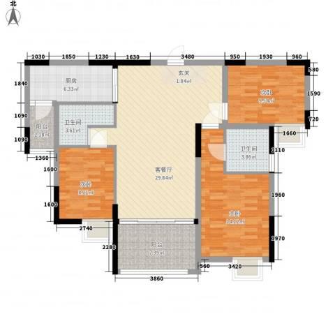 莲峰新村3室1厅2卫1厨122.00㎡户型图