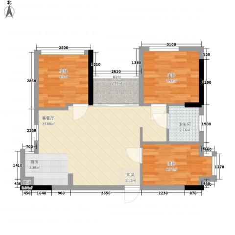 惠恺新时代3室1厅1卫0厨50.32㎡户型图