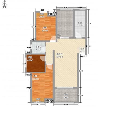 公园新天地3室1厅1卫1厨97.60㎡户型图