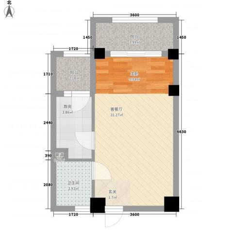 中环国际广场1厅1卫1厨45.00㎡户型图