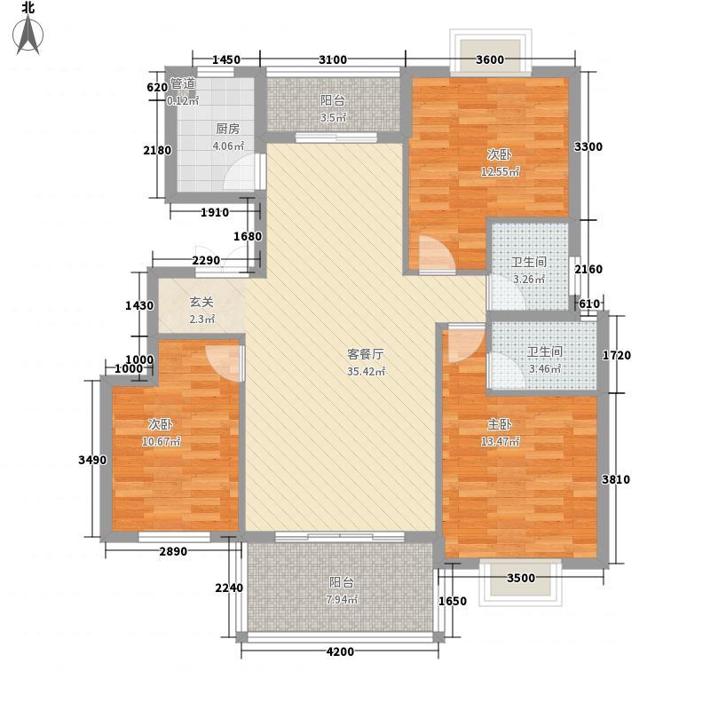 长湖峰境118.76㎡2/7栋B1户型3室2厅2卫1厨