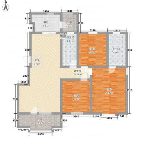乐活・两岸568庄园3室1厅2卫1厨135.00㎡户型图
