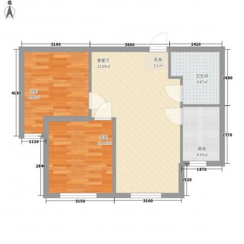 乐活・两岸568庄园2室1厅1卫1厨73.00㎡户型图