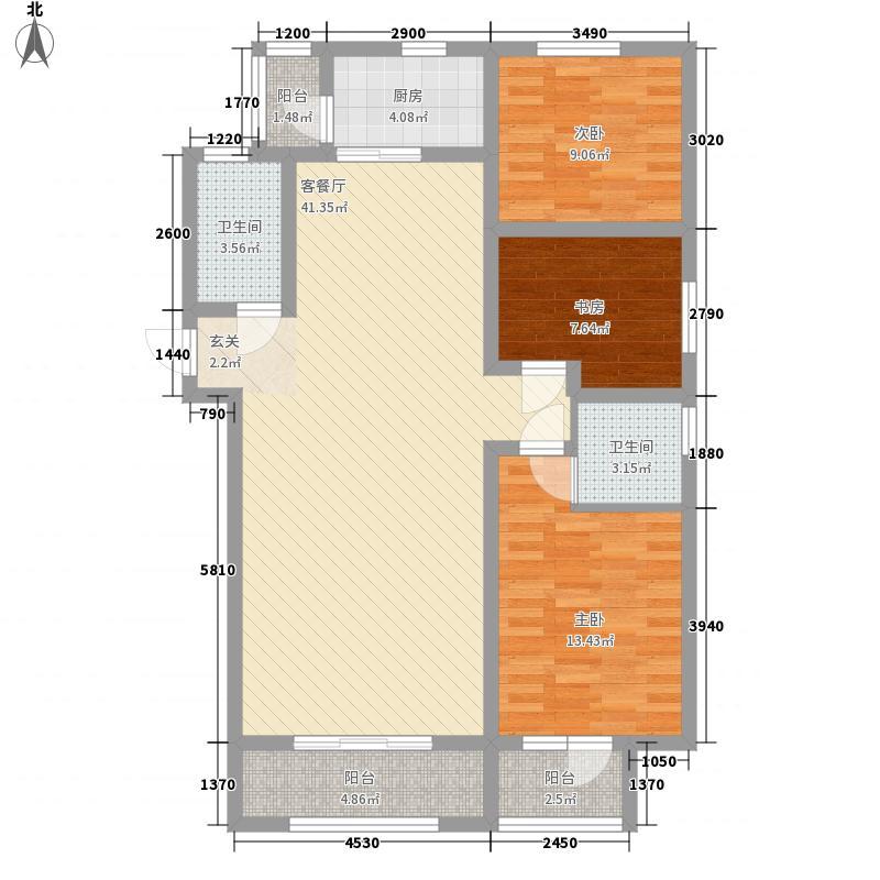 左岸春天142.62㎡B户型3室2厅2卫
