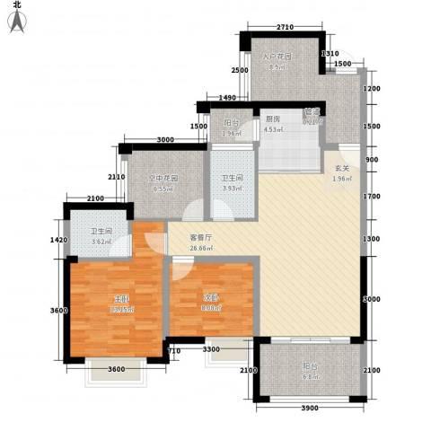 天湖御林湾2室1厅2卫1厨238.00㎡户型图