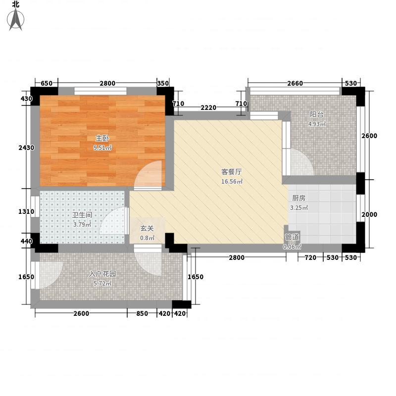 纳尼亚小镇58.00㎡公寓E户型1室2厅1卫1厨