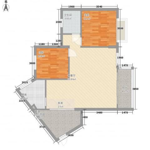 东海岸花园2室1厅1卫1厨87.00㎡户型图