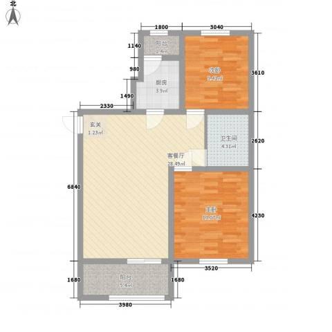 乐活・两岸568庄园2室1厅1卫1厨88.00㎡户型图