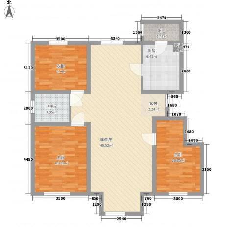 乐活・两岸568庄园3室1厅1卫1厨118.00㎡户型图