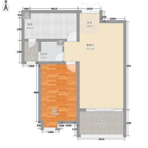 富丽城1室1厅1卫1厨93.00㎡户型图