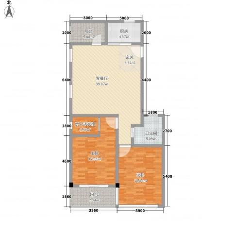 上谷居2室1厅1卫1厨136.00㎡户型图