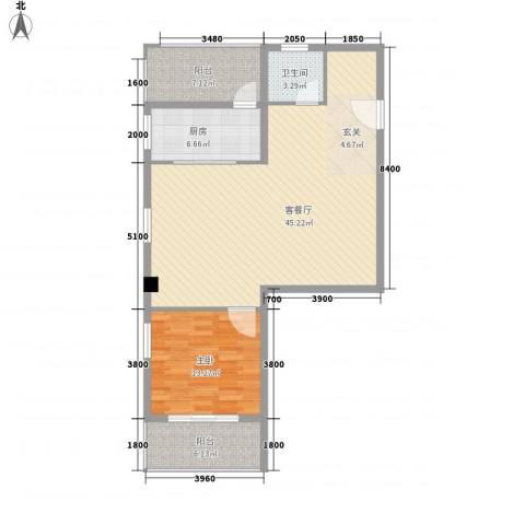 上谷居1室1厅1卫1厨81.68㎡户型图