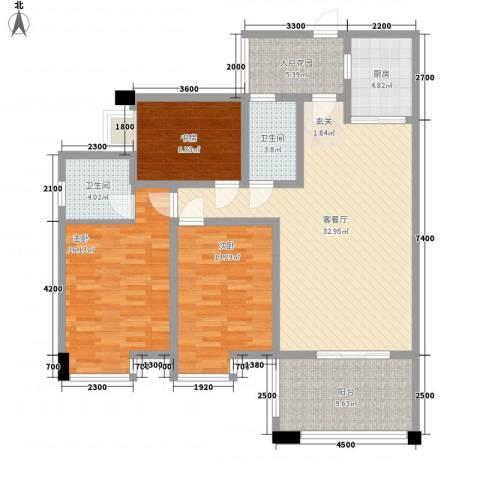 中玮海润广场3室1厅2卫1厨132.00㎡户型图