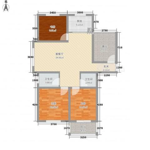 和平国际3室1厅2卫1厨137.00㎡户型图