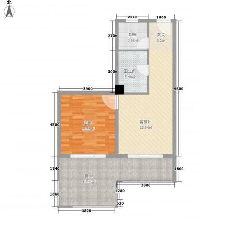 上谷居1室1厅1卫1厨72.00㎡户型图