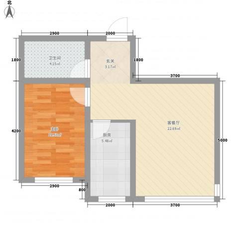 博达雅居1室1厅1卫1厨42.85㎡户型图