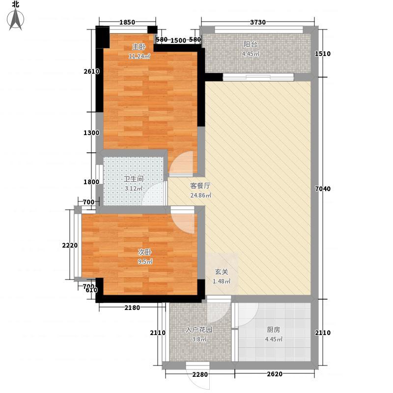 新泰国际76.75㎡C1户型2室2厅1卫1厨