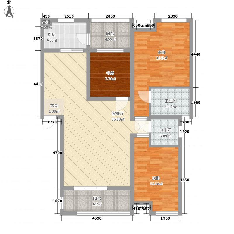 观澜尚郡1.80㎡B2-1户型3室2厅2卫1厨