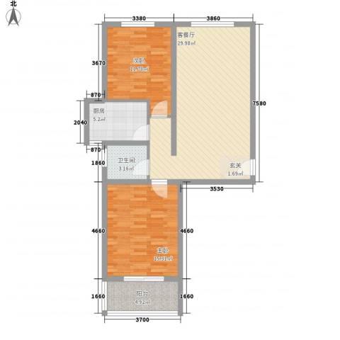 九�倾城2室1厅1卫1厨70.35㎡户型图