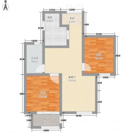 �林2室1厅1卫1厨92.00㎡户型图