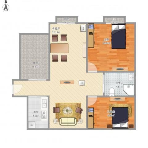 泰兴长江国际花园2室1厅1卫1厨102.00㎡户型图