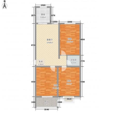 九�倾城3室1厅1卫1厨118.00㎡户型图