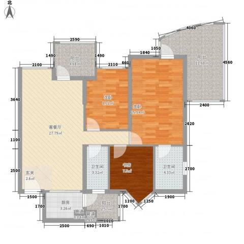 泊林花园3室1厅2卫1厨127.00㎡户型图