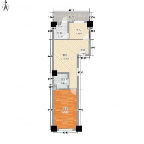 白菊时代华庭1室2厅1卫1厨75.00㎡户型图
