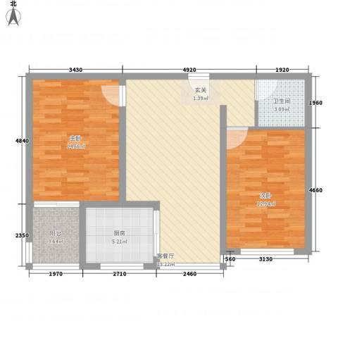 九�倾城2室1厅1卫1厨62.77㎡户型图