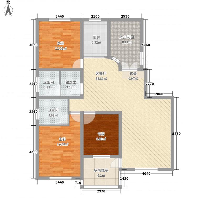 鼎盛・帕堤欧14.64㎡K户型3室2厅2卫1厨