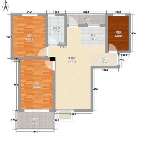 上谷居3室1厅1卫0厨74.67㎡户型图