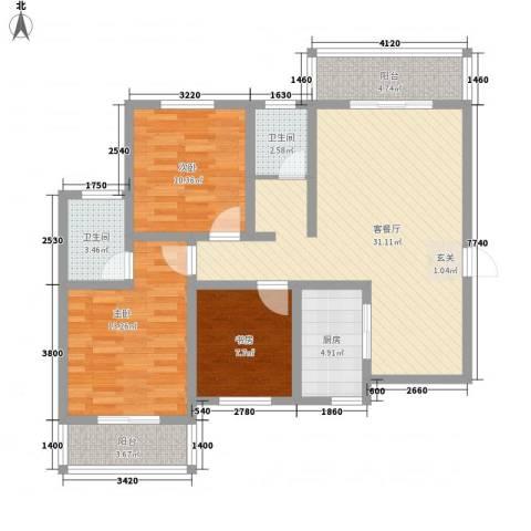 鼎盛・帕堤欧3室1厅2卫1厨81.79㎡户型图