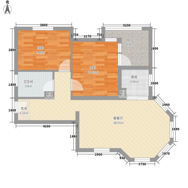 纳尼亚小镇88.00㎡公寓D户型2室2厅1卫1厨