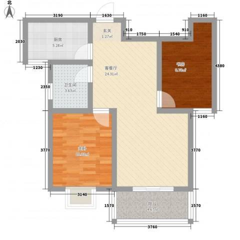 鼎盛・帕堤欧2室1厅1卫1厨83.00㎡户型图