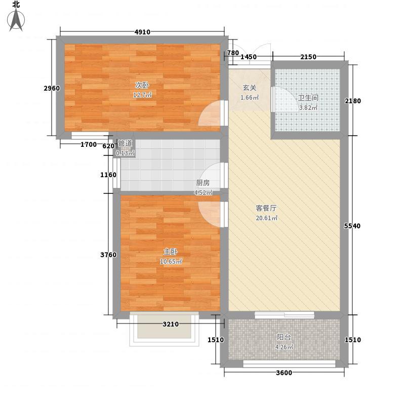 复兴社区82.00㎡F户型2室2厅1卫1厨