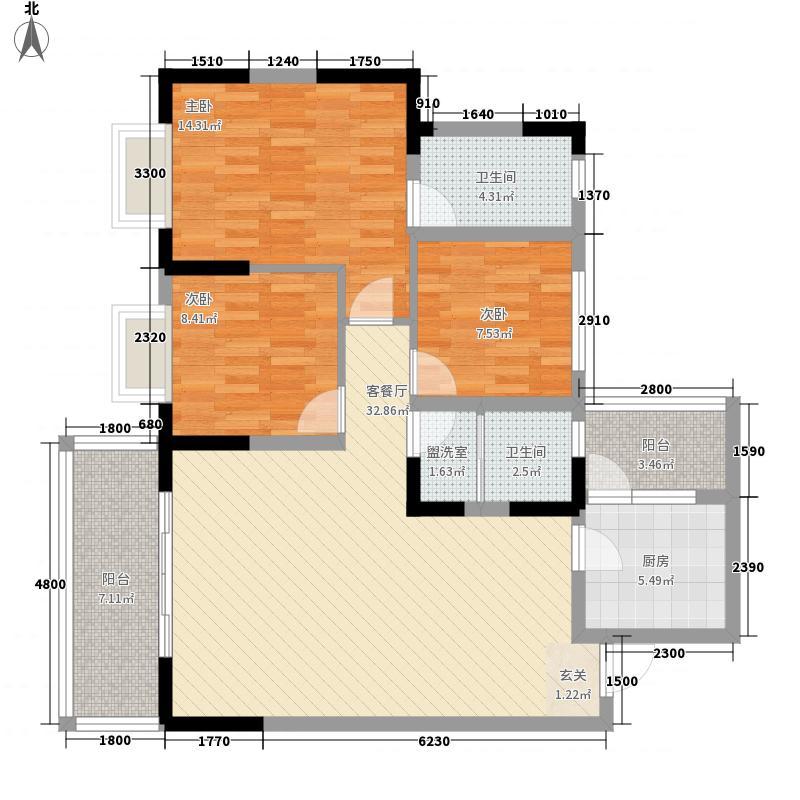 中国・金州体育城4.20㎡A4组团6#楼1-1、2-3户型3室1厅1卫1厨