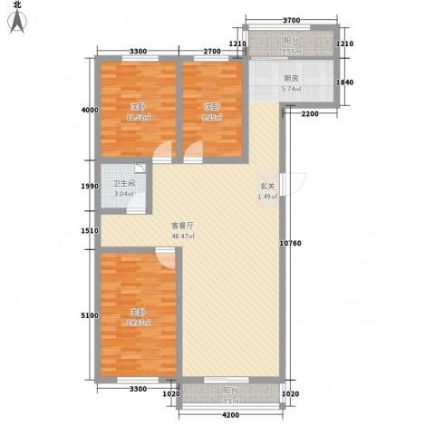 博达雅居3室1厅1卫0厨125.00㎡户型图