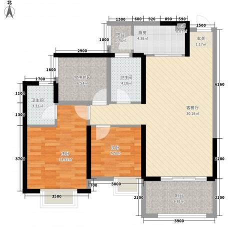 天湖御林湾2室1厅2卫1厨78.64㎡户型图