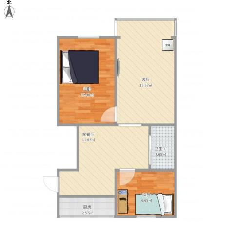 控江五村2室2厅1卫1厨70.00㎡户型图