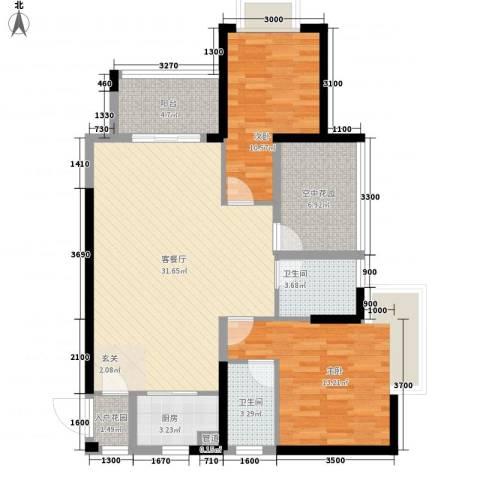 天湖御林湾2室1厅2卫1厨78.89㎡户型图